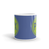 RWY23 - PHX Phoenix, Arizona Airport Code Coffee Mug - Teacher Gift, Airbnb Decor - Green and Blue - Side
