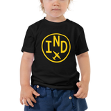 RWY23 - IND Indianapolis T-Shirt - Airport Code and Vintage Roundel Design - Toddler - Black - Gift for Grandchild or Grandchildren