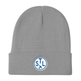 RWY23 - STL St. Louis Winter Hat - Embroidered Airport Code and Vintage Roundel Design - Gray - Birthday Gift