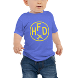 RWY23 - HFD Hartford T-Shirt - Airport Code and Vintage Roundel Design - Baby - Blue - Gift for Grandchild or Grandchildren
