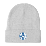 RWY23 - ANC Anchorage Winter Hat - Embroidered Airport Code and Vintage Roundel Design - White - Aviation Gift