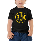 RWY23 - BHM Birmingham T-Shirt - Airport Code and Vintage Roundel Design - Toddler - Black - Gift for Grandchild or Grandchildren