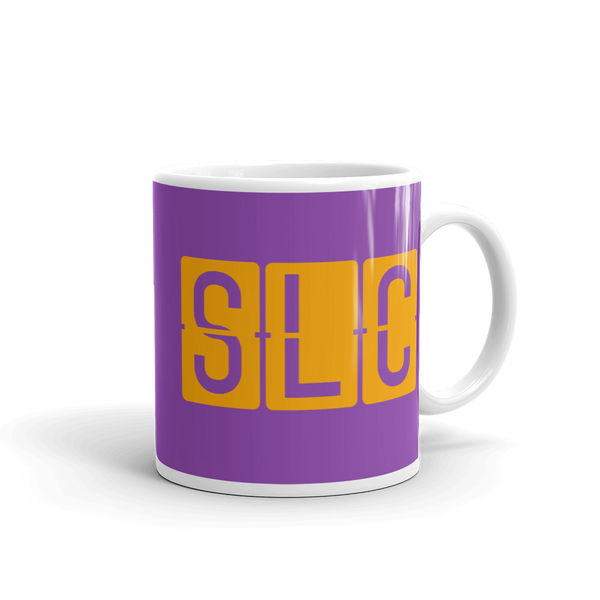 RWY23 - SLC Salt Lake City, Utah Airport Code Coffee Mug - Graduation Gift, Housewarming Gift - Orange and Purple - Right