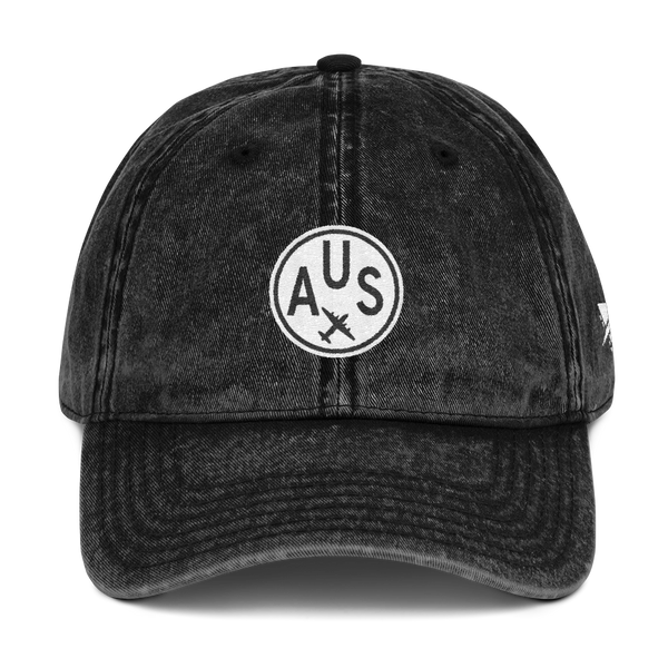 RWY23 - AUS Austin Cotton Twill Cap - Airport Code and Vintage Roundel Design - Black - Front - Christmas Gift