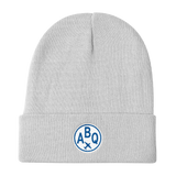 RWY23 - ABQ Albuquerque Winter Hat - Embroidered Airport Code and Vintage Roundel Design - White - Aviation Gift
