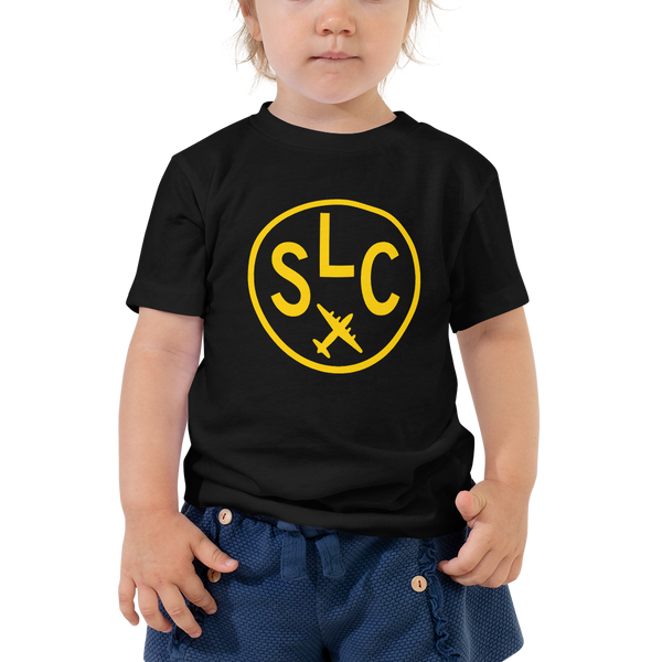 SLC Salt Lake City T-Shirt • Toddler • Airport Code & Vintage Roundel Design • Orange Graphic