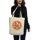 CHS Charleston Organic Tote • Airport Code & Vintage Roundel Design • Orange