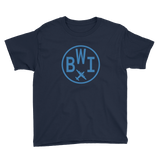 RWY23 - BWI Baltimore-Washington T-Shirt - Airport Code and Vintage Roundel Design - Youth - Navy Blue - Gift for Grandchildren