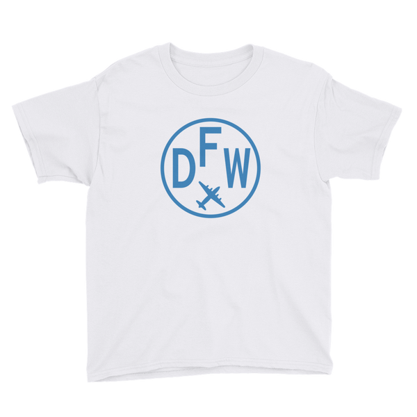 RWY23 - DFW Dallas-Fort Worth T-Shirt - Airport Code and Vintage Roundel Design - Youth - White - Gift for Child or Children
