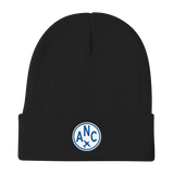 RWY23 - ANC Anchorage Winter Hat - Embroidered Airport Code and Vintage Roundel Design - Black - Christmas Gift