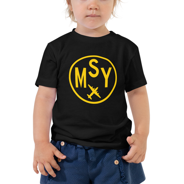 RWY23 - MSY New Orleans T-Shirt - Airport Code and Vintage Roundel Design - Toddler - Black - Gift for Grandchild or Grandchildren