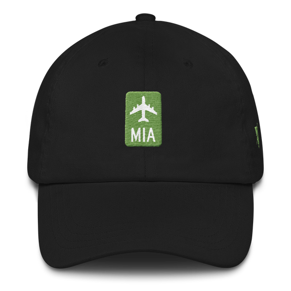 RWY23 - MIA Miami Retro Jetliner Airport Code Dad Hat - Black - Front - Christmas Gift