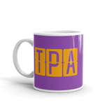 RWY23 - TPA Tampa, Florida Airport Code Coffee Mug - Birthday Gift, Christmas Gift - Orange and Purple - Left