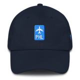RWY23 - PHL Philadelphia Retro Jetliner Airport Code Dad Hat - Navy Blue - Front - Aviation Gift