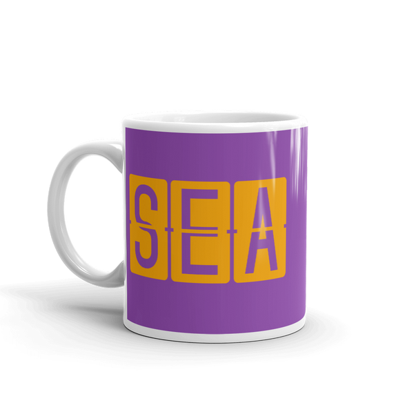 RWY23 - SEA Seattle, Washington Airport Code Coffee Mug - Birthday Gift, Christmas Gift - Orange and Purple - Left