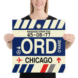 "RWY23 - ORD Chicago Airport Code Vintage Baggage Tag Design Poster - 18""x18"""