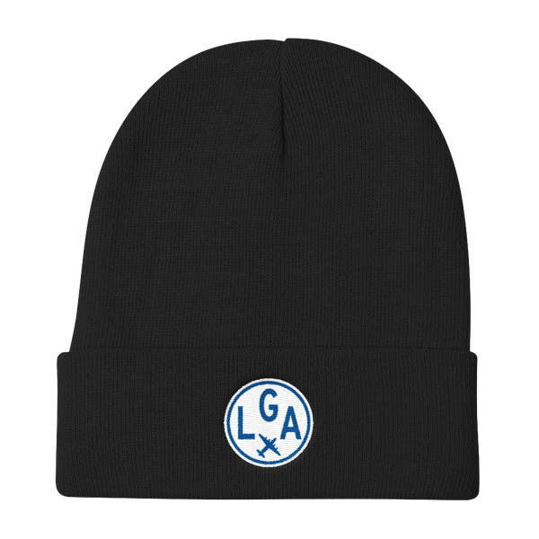 RWY23 - LGA New York Winter Hat - Embroidered Airport Code and Vintage Roundel Design - Black - Christmas Gift