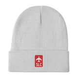 RWY23 - SLC Salt Lake City Retro Jetliner Airport Code Dad Hat - White - Travel Gift