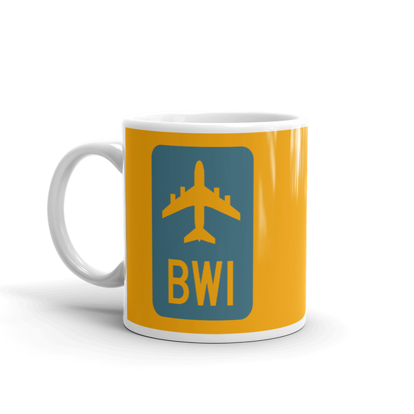 RWY23 - BWI Baltimore-Washington Airport Code Jetliner Coffee Mug - Birthday Gift, Christmas Gift - Blue and Orange - Left