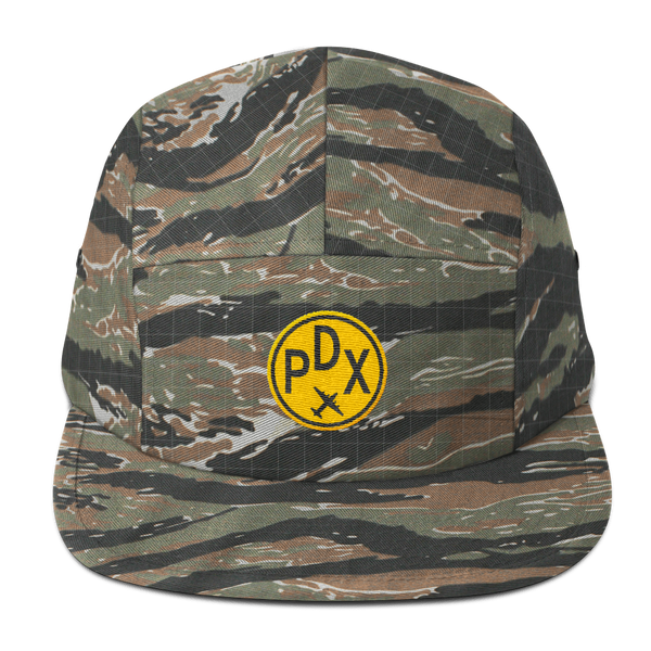 RWY23 - PDX Portland Camper Hat - Airport Code and Vintage Roundel Design -Green Tiger Camo - Gift for Him