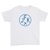RWY23 - JFK New York T-Shirt - Airport Code and Vintage Roundel Design - Youth - White - Gift for Child or Children