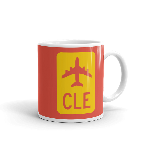 RWY23 - CLE Cleveland Airport Code Jetliner Coffee Mug - Graduation Gift, Housewarming Gift - Red and Yellow - Right