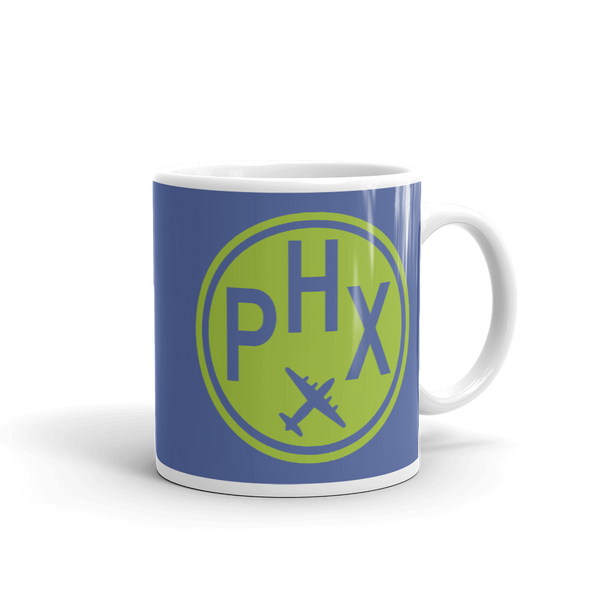 RWY23 - PHX Phoenix, Arizona Airport Code Coffee Mug - Graduation Gift, Housewarming Gift - Green and Blue - Right