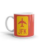 RWY23 - JFK New York Airport Code Jetliner Coffee Mug - Birthday Gift, Christmas Gift - Red and Yellow - Left