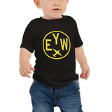 RWY23 - EYW Key West T-Shirt - Airport Code and Vintage Roundel Design - Baby - Black - Gift for Child or Children