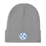 RWY23 - SEA Seattle Winter Hat - Embroidered Airport Code and Vintage Roundel Design - Gray - Birthday Gift