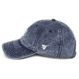 RWY23 - HOU Houston Cotton Twill Cap - Airport Code and Vintage Roundel Design - Navy Blue - Left Side - Travel Gift