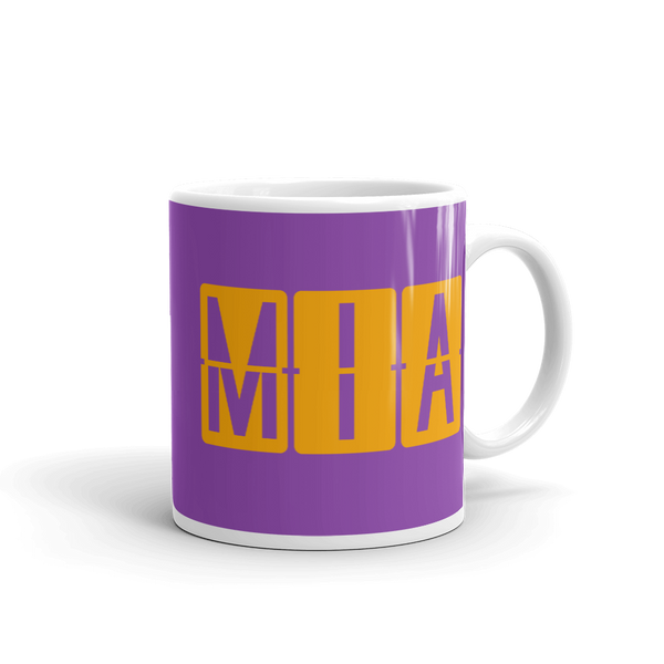 RWY23 - MIA Miami, Florida Airport Code Coffee Mug - Graduation Gift, Housewarming Gift - Orange and Purple - Right