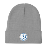 RWY23 - LGA New York Winter Hat - Embroidered Airport Code and Vintage Roundel Design - Gray - Birthday Gift