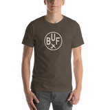 RWY23 - BUF Buffalo T-Shirt - Airport Code and Vintage Roundel Design - Adult - Army Brown - Birthday Gift