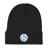 RWY23 - LAS Las Vegas Winter Hat - Embroidered Airport Code and Vintage Roundel Design - Black - Christmas Gift