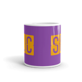 RWY23 - SLC Salt Lake City, Utah Airport Code Coffee Mug - Teacher Gift, Airbnb Decor - Orange and Purple - Side
