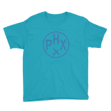 RWY23 - PHX Phoenix T-Shirt - Airport Code and Vintage Roundel Design - Youth - Caribbean blue - Gift for Kids
