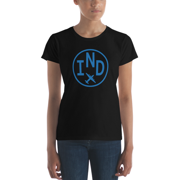 RWY23 - IND Indianapolis T-Shirt - Airport Code and Vintage Roundel Design - Women's - Black - Gift for Girlfriend