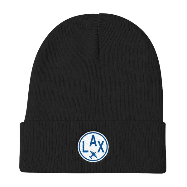 RWY23 - LAX Los Angeles Winter Hat - Embroidered Airport Code and Vintage Roundel Design - Black - Christmas Gift