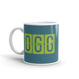 RWY23 - OGG Maui, Hawaii Airport Code Coffee Mug - Birthday Gift, Christmas Gift - Green and Teal - Left