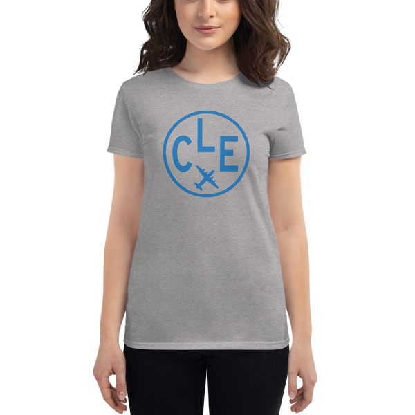 RWY23 - CLE Cleveland T-Shirt - Airport Code and Vintage Roundel Design - Women's - Heather Grey - Gift for Her