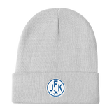 RWY23 - JFK New York Winter Hat - Embroidered Airport Code and Vintage Roundel Design - White - Aviation Gift