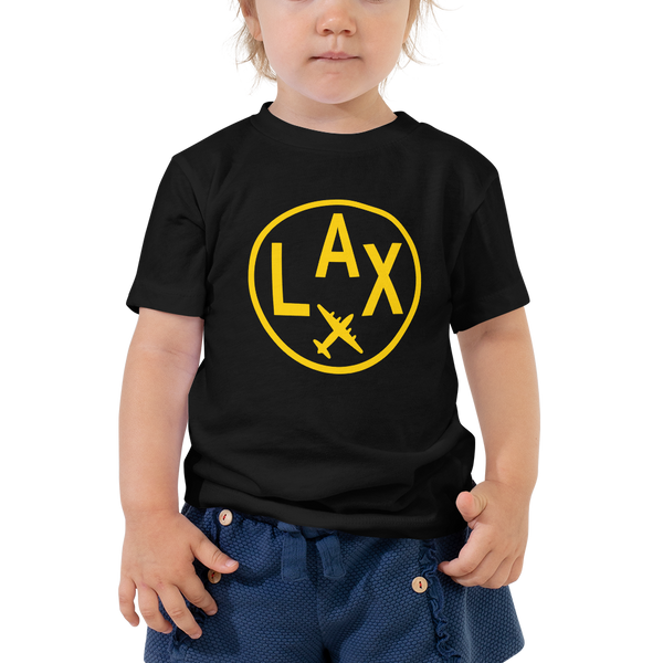 RWY23 - LAX Los Angeles T-Shirt - Airport Code and Vintage Roundel Design - Toddler - Black - Gift for Grandchild or Grandchildren