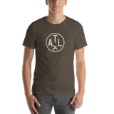 RWY23 - ATL Atlanta T-Shirt - Airport Code and Vintage Roundel Design - Adult - Army Brown - Birthday Gift