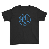 RWY23 - HNL Honolulu T-Shirt - Airport Code and Vintage Roundel Design - Youth - Black - Gift for Grandchild