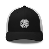RWY23 - SLC Salt Lake City Airport Code Trucker Cap - City-Themed Merchandise - Roundel Design with Vintage Airplane - Image 7