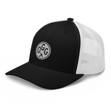 RWY23 - OGG Maui Airport Code Trucker Cap - City-Themed Merchandise - Roundel Design with Vintage Airplane - Image 1
