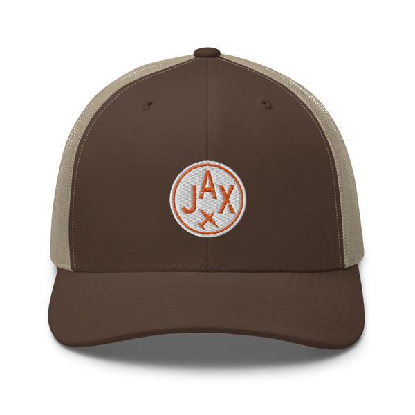 RWY23 - JAX Jacksonville Airport Code Trucker Cap - City-Themed Merchandise - Roundel Design with Vintage Airplane - Image 4