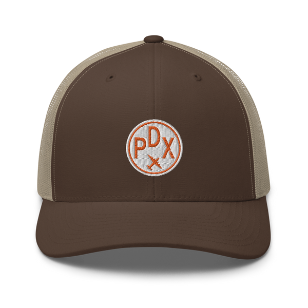 RWY23 - PDX Portland Airport Code Trucker Cap - City-Themed Merchandise - Roundel Design with Vintage Airplane - Image 4
