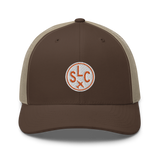 RWY23 - SLC Salt Lake City Airport Code Trucker Cap - City-Themed Merchandise - Roundel Design with Vintage Airplane - Image 4